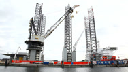 Stock Video Footage of Huge vessel for offshore construction