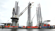 Stock Video Footage of Offshore construction Jack up ready for work