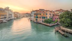 View to the grand canal and Academy in Venice Stock Photos
