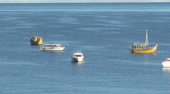 Bolivia boats in Lake Titicaca s Stock Footage
