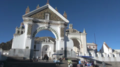 Bolivia Copacabana gateway and shrine s Stock Footage
