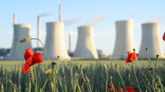 Field poppy and power station, rack focus Stock Footage
