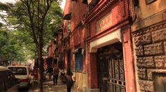 Entrance of a old compound Shanghai Former French Concession Stock Footage