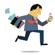 Stock Illustration of boss running in rush hour