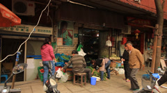 Street life at Shanghai Former French Concession Stock Footage