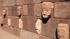 Bolivia Tiahuanaco stone faces  Stock Footage