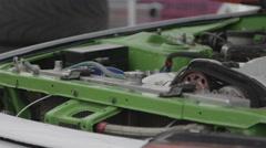 Racing car motor, close-up shot Stock Footage