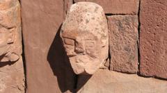Bolivia Tiahuanaco stone face c Stock Footage
