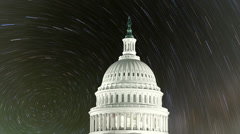 United States Capitol with Time Lapse Stars Stock Footage