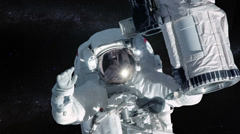 Astronaut in outer space over stars background. Stock Footage