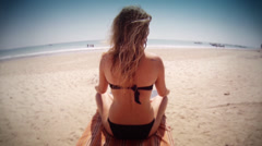 Girl on a beach in Khao Lak - Thailand Stock Footage