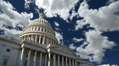 USA Capitol with Time Lapse Clouds Stock Footage