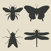 insects icon set - stock illustration