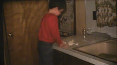 vintage 1970's, making pasta with family - stock footage