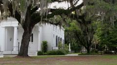 Historic church cemetery oak tree spanish moss Stock Footage