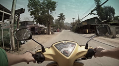 Exotic traveling on a motorcycle in Pai - Thailand Stock Footage