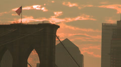 Stock Video Footage of Stars and Stripes, Sunset, Brooklyn Bridge