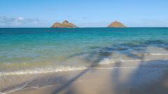 Lanikai Beach, Mokulua Islands, Oahu, Hawaii Stock Footage