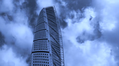 Stock Video Footage of Turning torso, Malmo, Sweden.dramatic clouds,time lipese