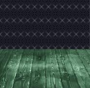 vector background of boards and vintage wall - stock illustration