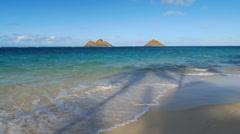 Lanikai Beach with Mokulua Islands, Oahu, Hawaii Stock Footage