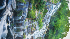 MAEYA Waterfall Famous Cascade Of Chiang Mai, Thailand (vertically framed) Stock Footage
