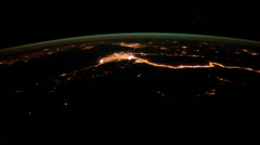 4K UHD Flying over Earth at Night  - from Libya to Turkey Stock Footage