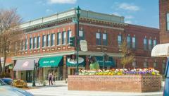Brick Building Main Street Corner in Hendersonville, NC Stock Footage