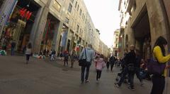 Italy Milan Corso Vittorio Emanuele by bike Stock Footage