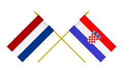 flags, croatia and netherlands - stock photo
