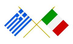 Stock Photo of flags, italy and greece