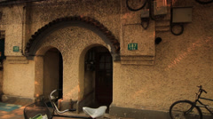 Entrance of old building Shanghai Former French Concession - stock footage