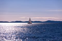 recreational yacht at adriatic sea - stock photo