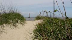 Lighthouse dunes grass Stock Footage