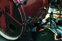 red bass drum - stock photo