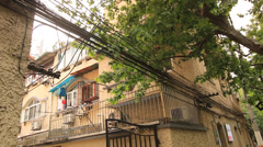 Detail view of old building Shanghai Former French Concession - stock footage