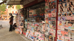 Newspaper stand Shanghai Former French Concession Stock Footage