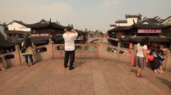 Qibao Canal bridge 2 Stock Footage