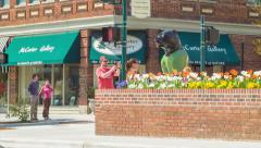 Tourists Taking Picture with Bear Statue in Downtown Hendersonville, NC Stock Footage