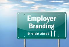 highway signpost employer branding - stock illustration