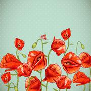 Bunch of Beautiful Red Poppy vector illustration - stock illustration
