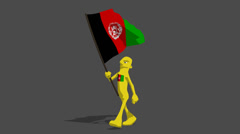 afganistan National Flag Carried By Character Loop - stock footage