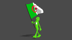 Algeria National Flag Carried By Character Loop Stock Footage
