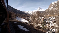 Zermatt and Matterhorn panorama by train Stock Footage