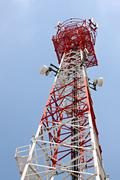 antenna array phone signal serving. - stock photo