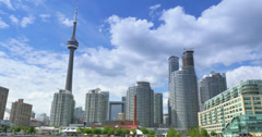Toronto Skyline from Lake Ontario with CN Tower Stock Footage