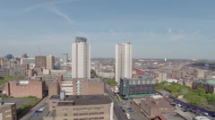 Aerial Video clip of Birmingham UK over view, west view point Stock Footage