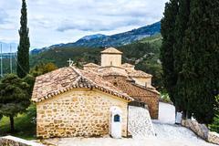 old byzantine church at greece - stock photo