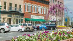 Main Street Shops in Historic Downtown Hendersonville North Carolina Stock Footage