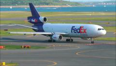 Federal Express airplane arrives Stock Footage